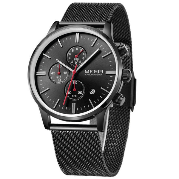 MEGIR 2011 Stainless Steel Mesh Strap Band Clock Men Waterproof Quartz Mens Watches Top Brand Luxury Casual Mesh Brand Watch Luminous Hour For Male Relogio Masculino