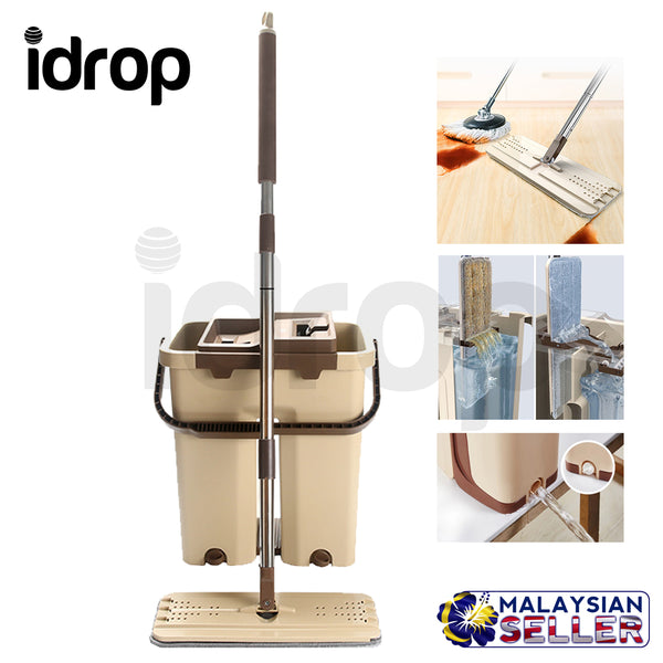 idrop Creative Mop And Double Sided Bucket Spin Self-wringing Squeeze