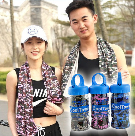 Magic Cooling Exercise Towel with Water Bottle