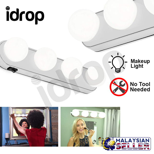 Idrop Portable Makeup Light Super Bright 4 LED Bulbs For Cosmetic Mirror
