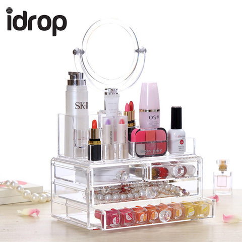 idrop Crystal translucent  Cosmetics Storage  Box with Mirror