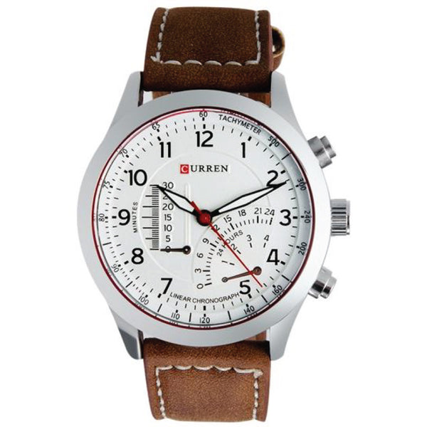 Original CURREN 8152 Men's Boy's Quartz Analog Watch With Faux Leather Strap Band-Brown Band