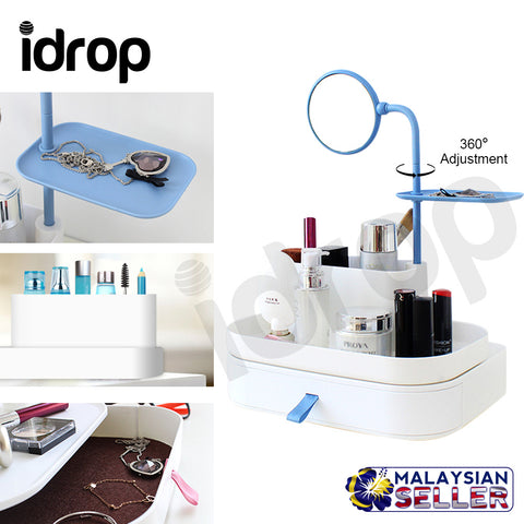 idrop Makeup Storage Box With 360 degree adjustment Mirror & Drawer Box