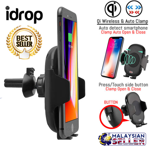 idrop C10 Car Qi Wireless Charger Smartphone Charging Holder Auto Clamp