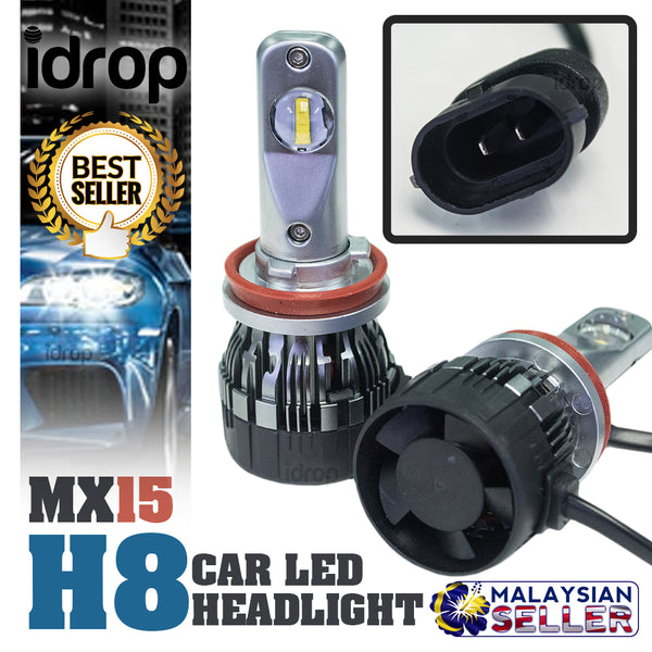 1 set MX15 H8 Car LED Headlight Driving Light Bulbs Hi/Lo Beam White 6000K