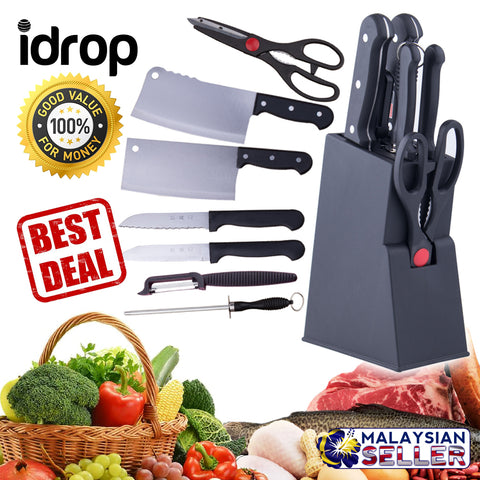 idrop SET OF 7 Stainless Steel Kitchen Knives + Knife Block Holder Set