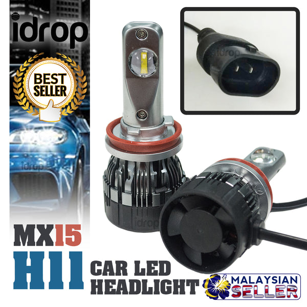 1 set MX15 H11 Car LED Headlight Driving Light Bulbs Hi/Lo Beam White 6000K