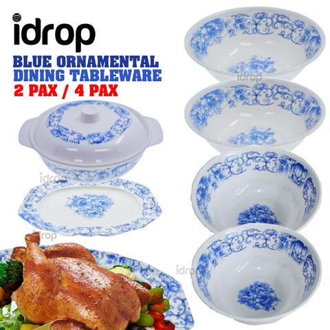 idrop Blue Ornamental Kitchen Dining Tableware Set 2 [ 2 Pax | 4 Pax ]