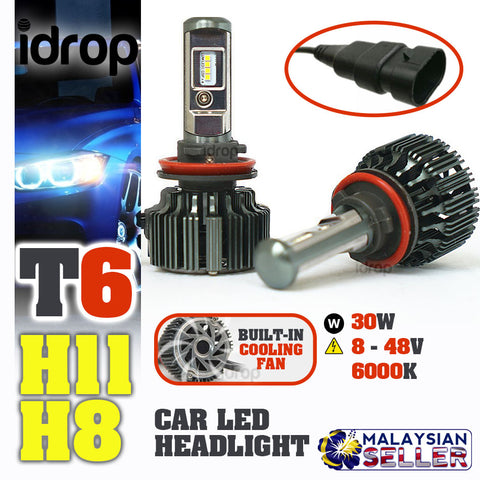 idrop TURBO LED T6 [ H11 / H8 ]- Car Headlight Hi/Lo Beam 30W EMC 8-48V 6000K