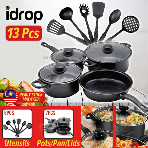 idrop [ 13pcs ] KITCHEN COOKWARE SET - Kitchenware Pot Pan and Utensils