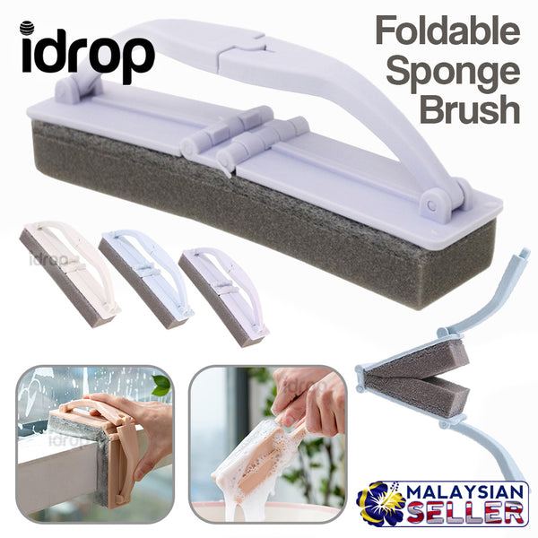 idrop Foldable Cleaning Washing Sponge Brush with Handle