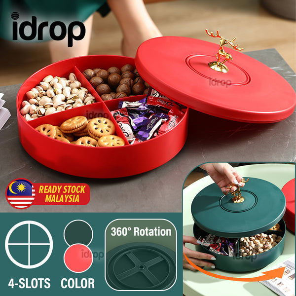 idrop [ CHINESE NEW YEAR ] 27CM  Candy Box for Snack Confectionary Display Storage - Rotating Container [ 4-Slot ]