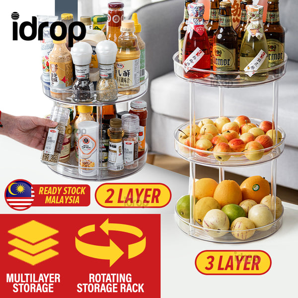 idrop [ 2 LAYER  / 3 LAYER ] Multilayer Multifunction Rotating Kitchen Storage Shelf Rack