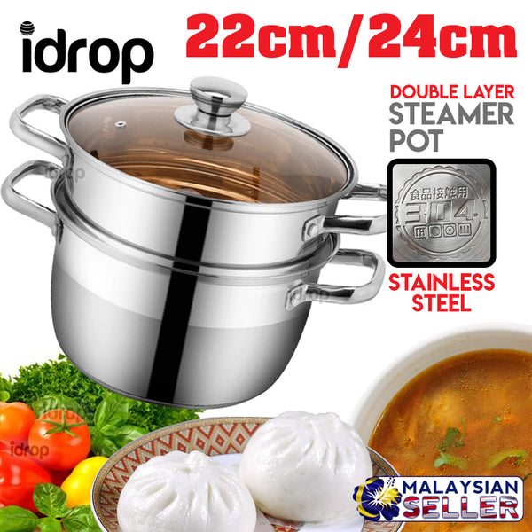 idrop Double Layer Stainless Steel Soup and Steamer Pot [22cm - 24cm]