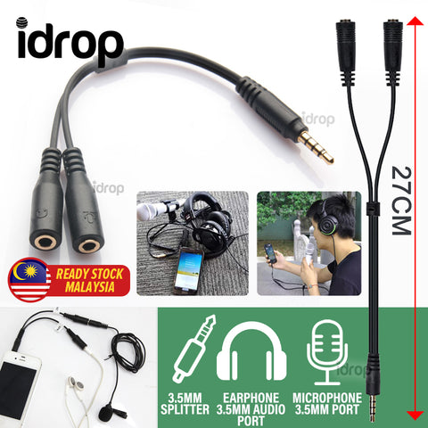 idrop 2 IN 1 3.5mm Microphone & Earphone Splitter Adapter Cable