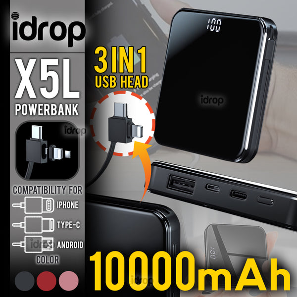 idrop 10000mAh X5L - Mini Portable fast Charge Powerbank with Cable Compatible for [ Android / Type C / Apple Device ] -