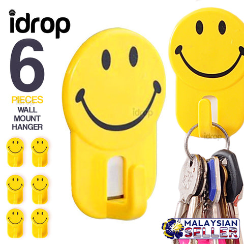 idrop 6pcs SMILEY Wall Mount Hook Hanger