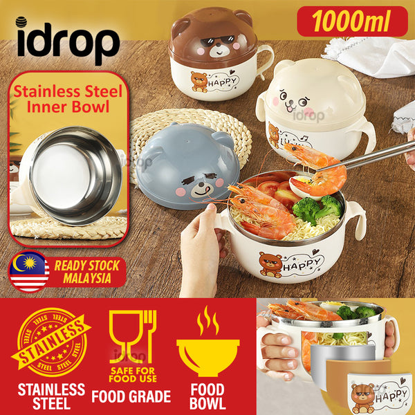 idrop [ 1000ml ] Stainless Steel Instant Noodle Food Bear Design Eating Bowl