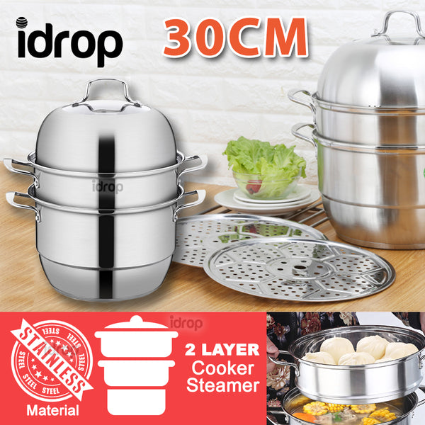 idrop 30CM 2 Layer Stainless Steel Cooker Steamer
