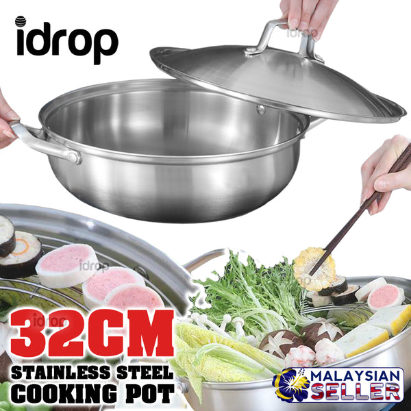 idrop 32CM Stainless Steel Kitchen Soup Cooking Pot