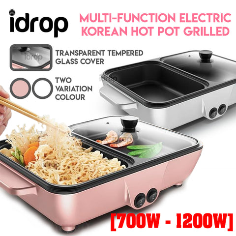 idrop Multipurpose Non-Stick Electric Korean Hot Pot Mini Frying Grilled BBQ