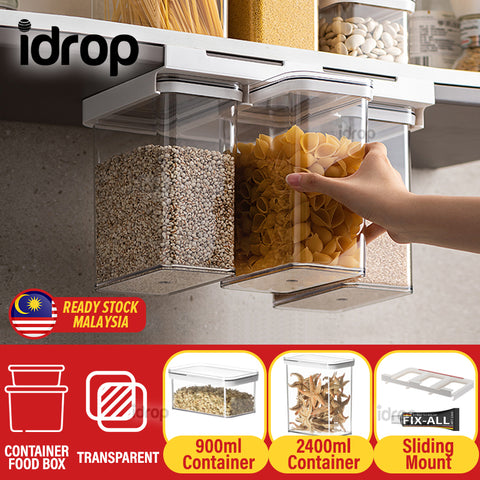 idrop Transparent Seal Tight Leakproof Food Grain Storage Container and Sliding Mount Holder [ 0.9L / 2.4L ]