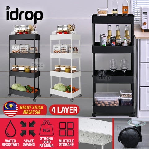 idrop [ 4 LAYER ] Household Storage Multilayer Portable Shelf Rack