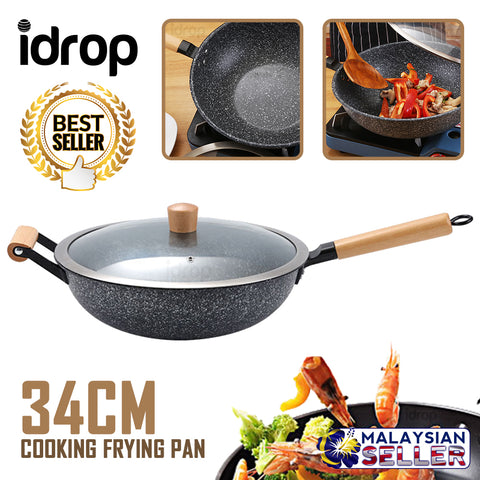 idrop 34CM - GD TRENDY Kitchen Cooking Wok Frying Pan [ Stone Black ]