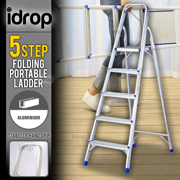 idrop 5 Step Folding Portable Household Lightweight Climbing Aluminium Ladder