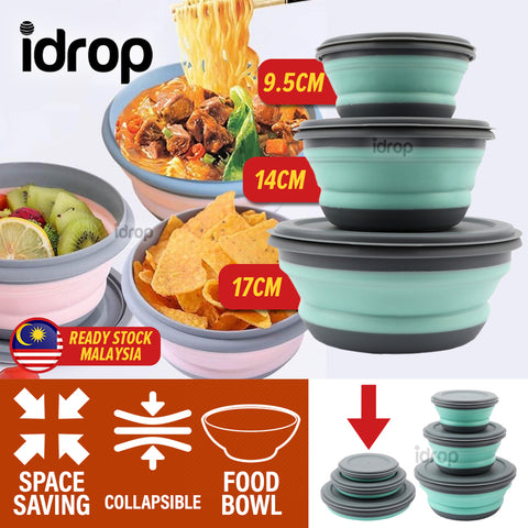 idrop 3PCS Collapsible Foldable Silicone Food Bowl [ 9.5cm / 14cm / 17cm ]