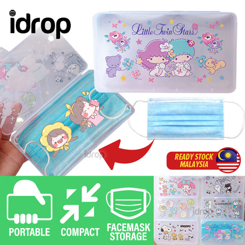 idrop Face Mask Portable Storage Transparent Container Box with Cartoon Decoration