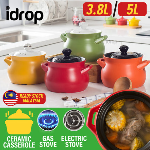 idrop [ 3.8L / 5L ] Ceramic Casserole Cooking Pot with Lid Cover