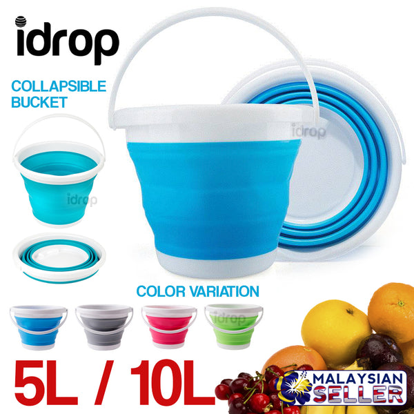 idrop 5L / 10L Round Collapsible Bucket