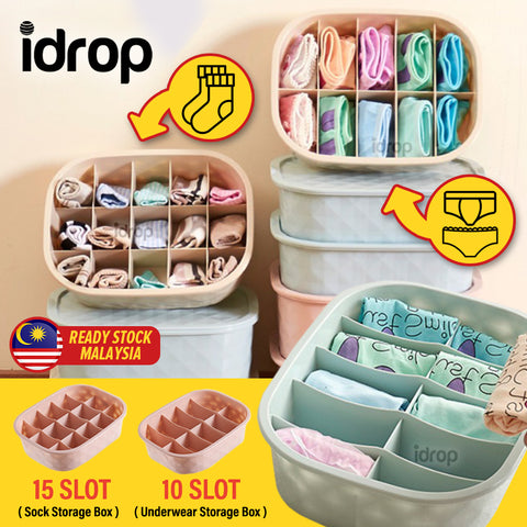 idrop Underwear & Socks Multi Compartment Slot Storage Box