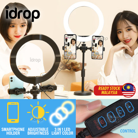 idrop [ 16CM LED Light Ring ] Multiple Smartphone Holder Live Broadcasting Lighting Stand