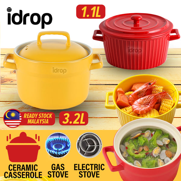 idrop [ 1.1L / 3.2L ] Ceramic Casserole Cooking Pot Bowl