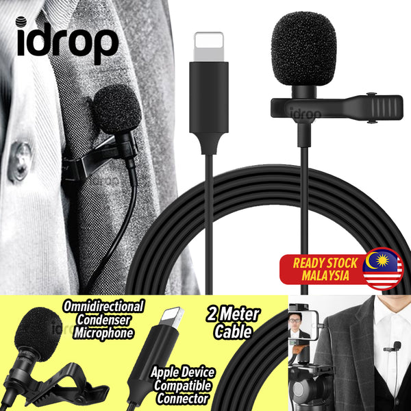idrop Lavalier Microphone Plug & Play for Digital Recording Compatible with Apple Devices