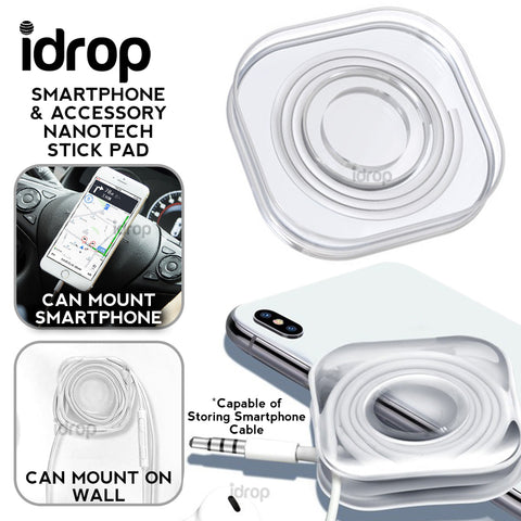 idrop Smartphone Nanotechnology Strong Mount Gel Stick Pad and Accessory Cable Organizer