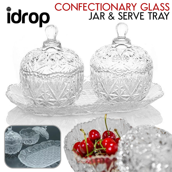 idrop 2pcs Home Confectionary Glass Jar and Glass Serve Tray
