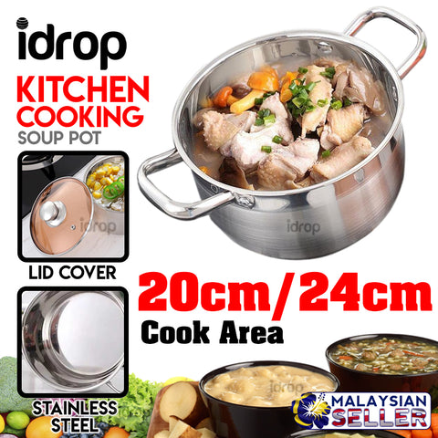 idrop Stainless Steel Soup Pot With Lid Cover [20cm/24cm]