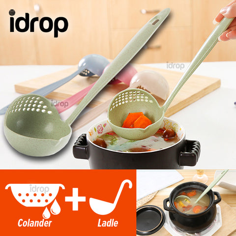 idrop Dual Purpose Long Handle Kitchen Colander Ladle