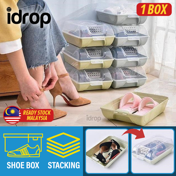 idrop Home Storage Stackable Dustproof Transparent Shoe Box [ 1 Box ]