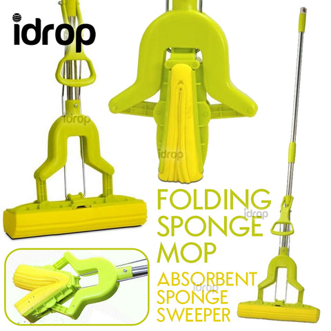 idrop Folding Sponge Mop - Foldable Extendable Absorbent Sweeper