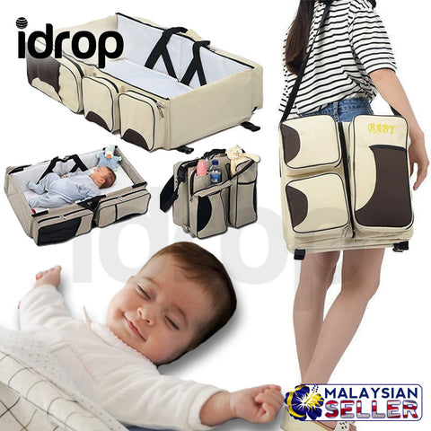 idrop MULTIFUNCTION 3 IN 1 - Portable Baby Bag + Changing Station + Travel Bassinet Travel Bed