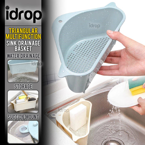 idrop Triangular Multifunctional Kitchen Sink Mount Washing Drainage Storage Basket