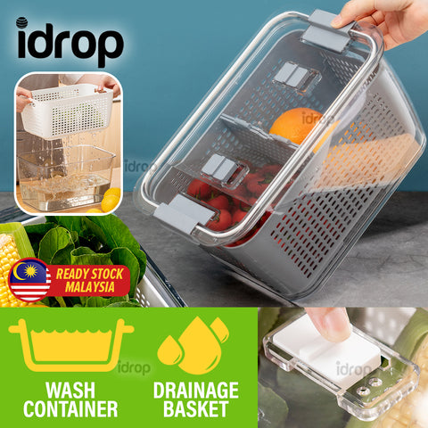 idrop [ 3.5L ] Household Kitchen Leakproof  Drain Basket Box for Fruit & Vegetable Washing and Cleaning