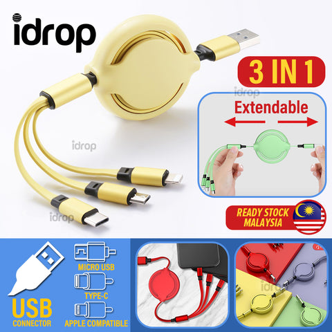 idrop 3 IN 1 Retractable Extendable USB to Type C / Micro USB / Apple Compatible Charging Cable
