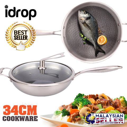 idrop 34CM COOKING PAN WOK - Kitchen Stainless Steel Cookware