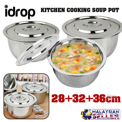 idrop 3 Size Kitchen Cooking Soup Pot [ 28cm + 32cm + 36cm ]
