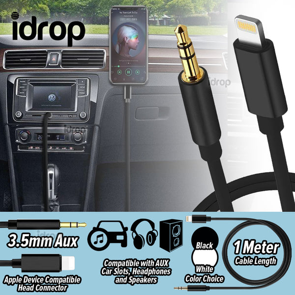 idrop 3.5mm Car Speaker Headphone AUX Audio Adapter Cable Compatible with Apple Device
